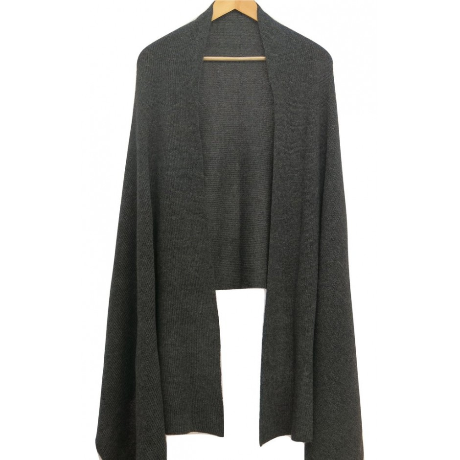Large Cashmere Scarf - Charcoal Grey
